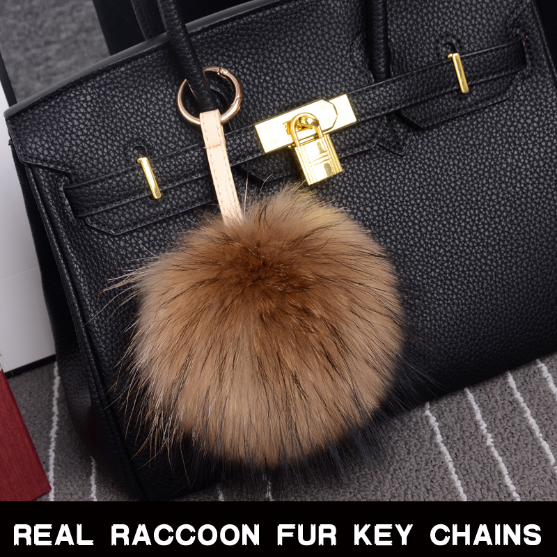 100% Real Raccoon Fur Pom Accessories Chain Mixed Colors Big Size Ball Bag Accessories Keychain Fur