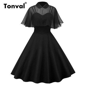 Tonval rockabilly 빈티지 투피스 블랙 드레스 시폰 케이프 라인 핀 드레스 여성 망토 슬리브 파티 미디 드레스