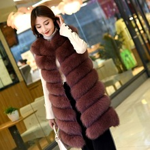 Fox hair vest fur coat long vest lady autumn and winter new whole leather horse clip slimAutumn and winter coat fox skin цена в Москве и Питере