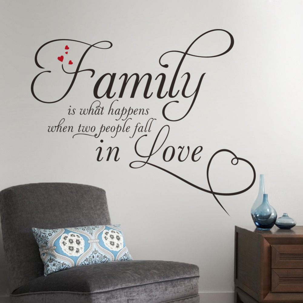 Family in love home decor creative quote wall decals removable vinyl wall stickers Decor Art Removable Wall Sticker-in Wall Stickers from Home u0026 Garden on ... : the best wall decals - www.pureclipart.com