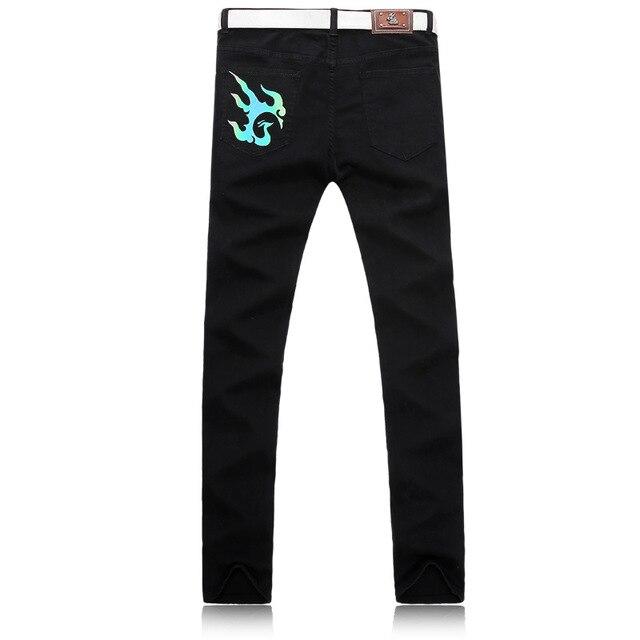 Marque de nuit pour hommes clignotant phoenix motif rue danse jeans décontractés hommes plein de tempérament jeune et à la mode - 2