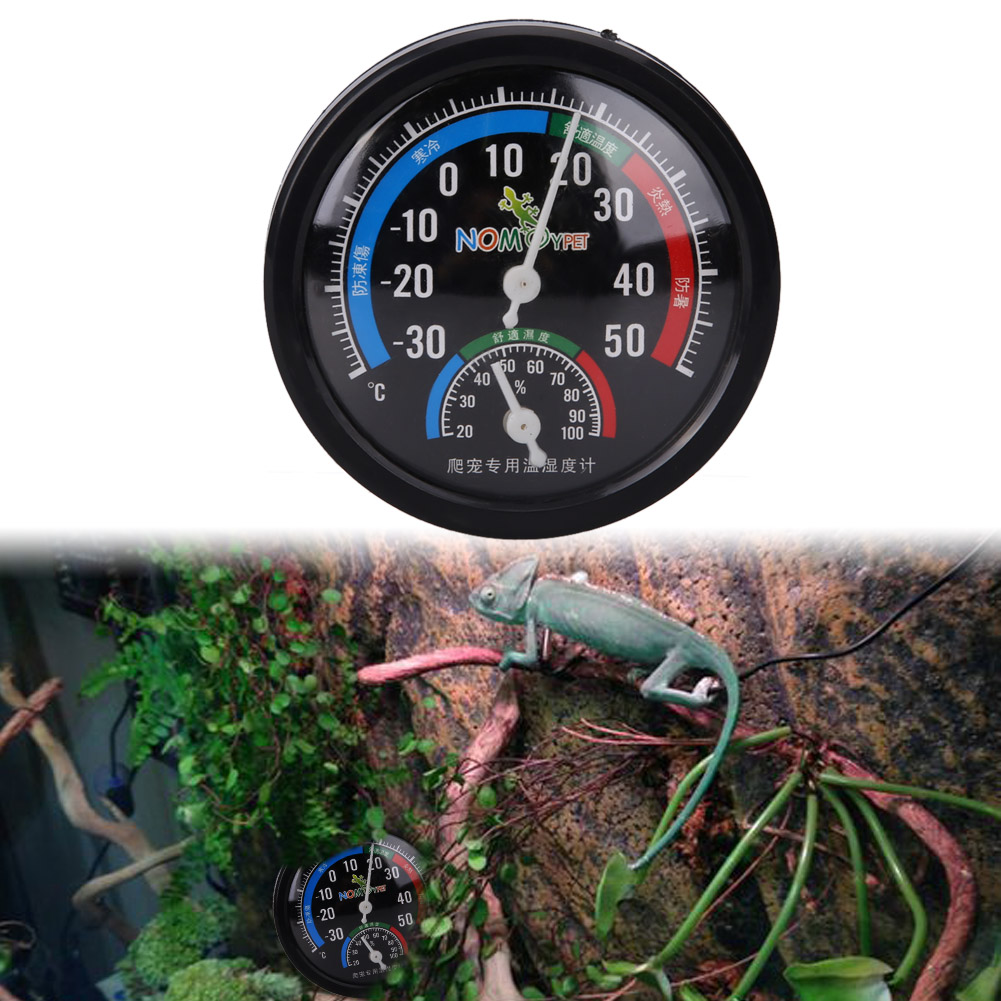 Reptile Temperature Vivarium Rearing Box Thermometer Humidity Hygrometer Dial Gauges Reptile Supplies with Colour Codes