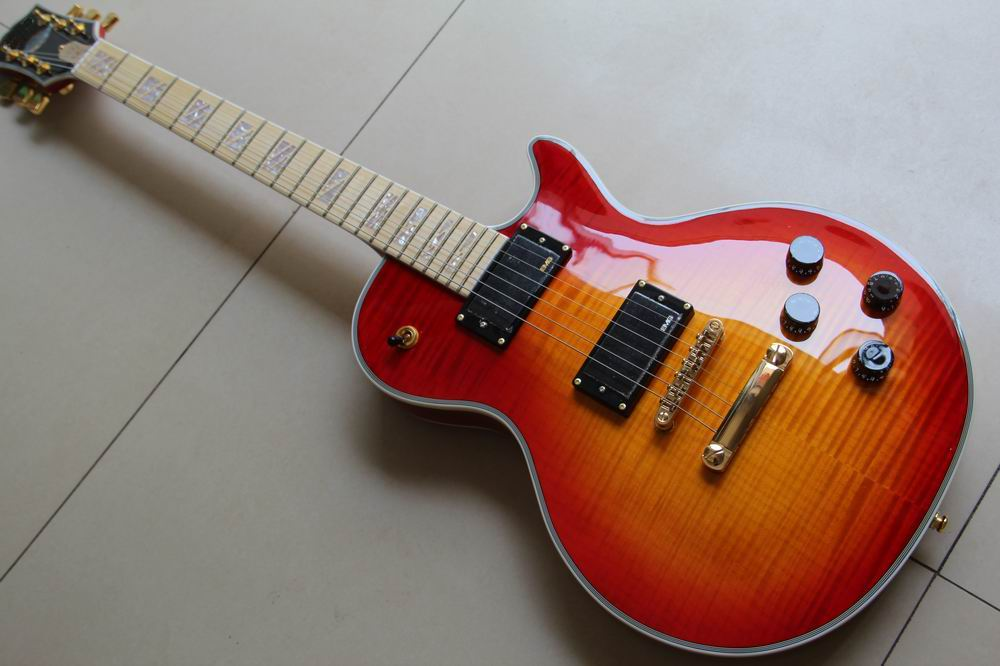 New Arrival LP G Supreme Mahogany electric guitar Maple fingerboard in Cherry Sunburst 120528