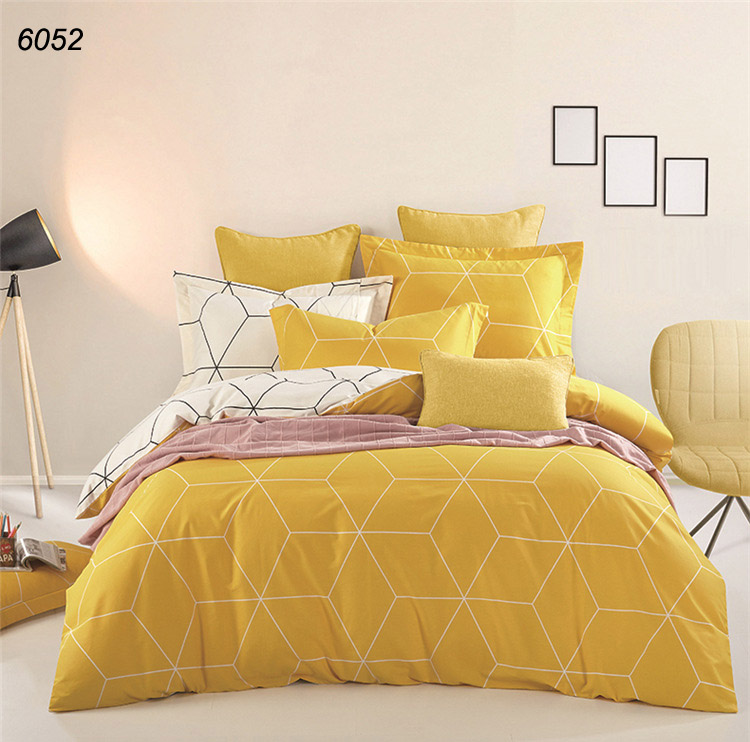 Yellow Came Brown Red Solid Colors Bedclothes 4pcs Bedding