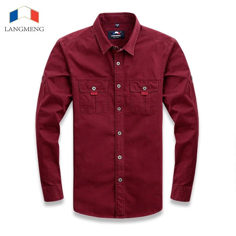 LANGMENG Brand 100% Cotton High Quality Mens Stylish Shirt Long Sleeve Army Green Casual Shirts Men Outwear Coats SizeXS-3XL