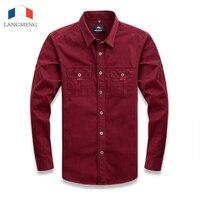 LANGMENG 2016 Brand 100 Cotton Hot Sale Oxford Men Fasion Dress Shirts Male Long Sleeve Shirt