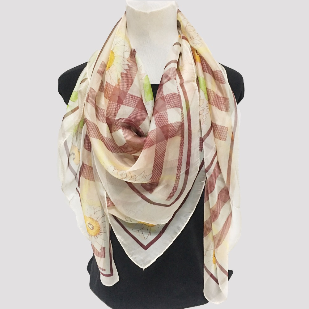 Big Size Square Silk Scarf For Women Flowers Butterfly Multi-Functional Scarves 140*140 image