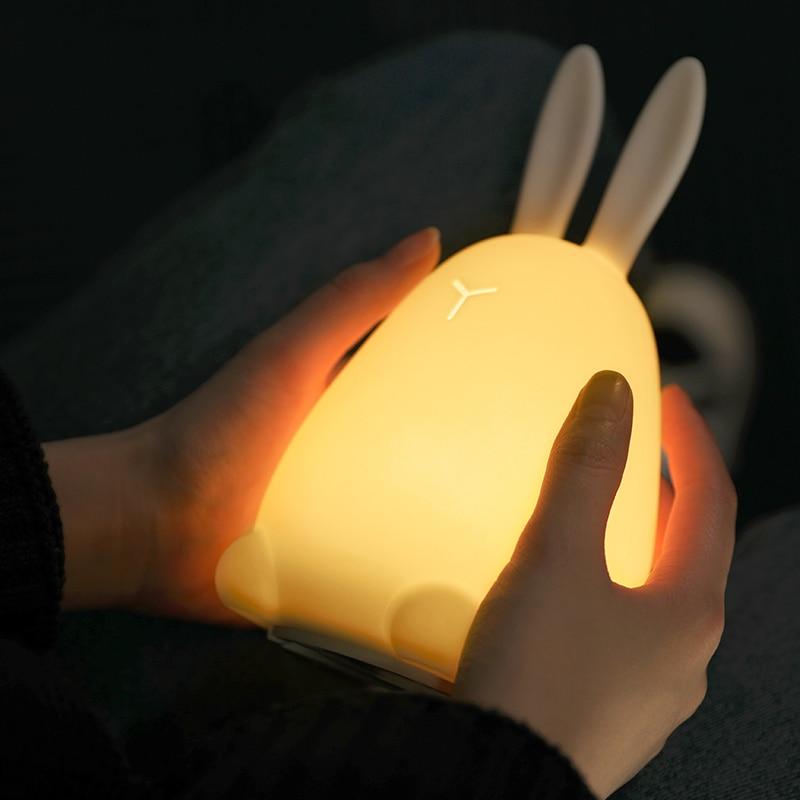Cute LED Night Lamp Silicone Cartoon Multicolor Night Light Touch Sensor Baby Nursery Lamp Kids Birthday Gift Bedroom Decoration