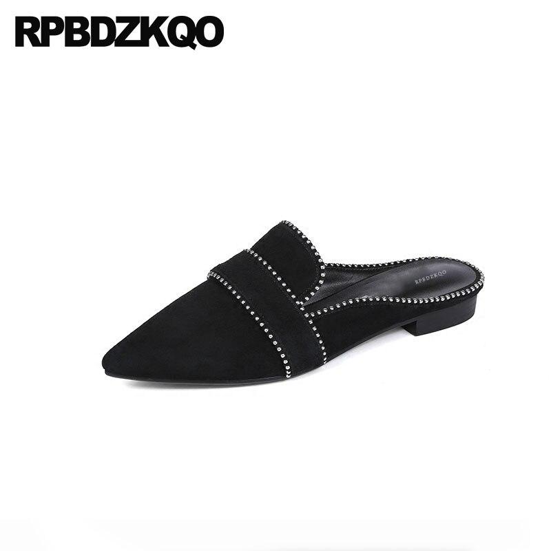 Pantofole di Design Punta a punta Scarpe Da Donna di Lusso 2018 Appartamenti Traspirante, Nero, Bello Della Vite Prigioniera Sandali di Cuoio Genuino Rivetto Muli