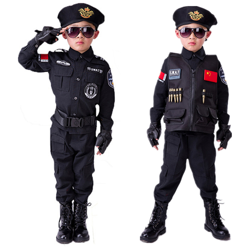 Devoted Policemen Costumes Boys Special Police Uniform Children's Day Gift Army Long Sleeve Coat+pants+belt+gloves+hat Cosplay Clothing High Quality Materials