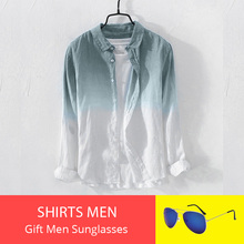 Shirts for Men Summer Cool Thin Breathable Lapel Collar Hanging Dyed Gradient Vi