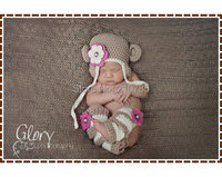 Darmowa wysyłka Crochet Monkey Hat i Sztylpy Wzory, Ear Flap Czapka, AMELIA i GEORGE MONKEY newborn fotografia rekwizyty
