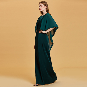 Dressv dark green evening dress cheap scoop neck a line half sleeves floor length wedding party formal dress evening dresses 1