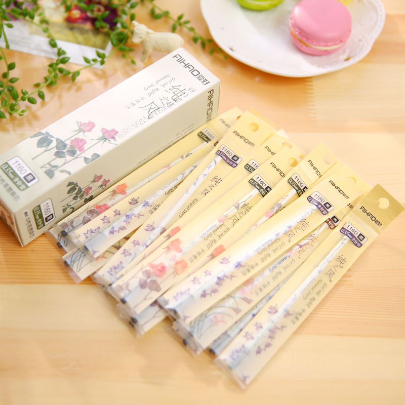 цены  10pcs/lot 0.35mm Cute Kawaii Plastic Gel Pen Refill Lovely Flower Pen Refills Korean Stationery Free Shipping 2201