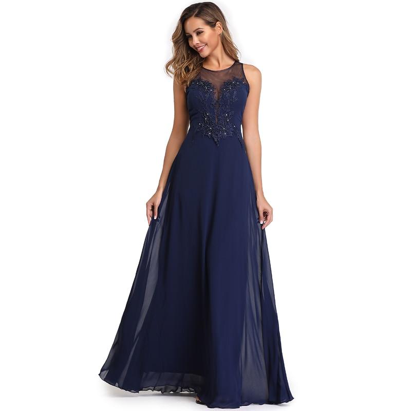 Elegant See-Through Appliques Chiffon Long Evening Dress 4