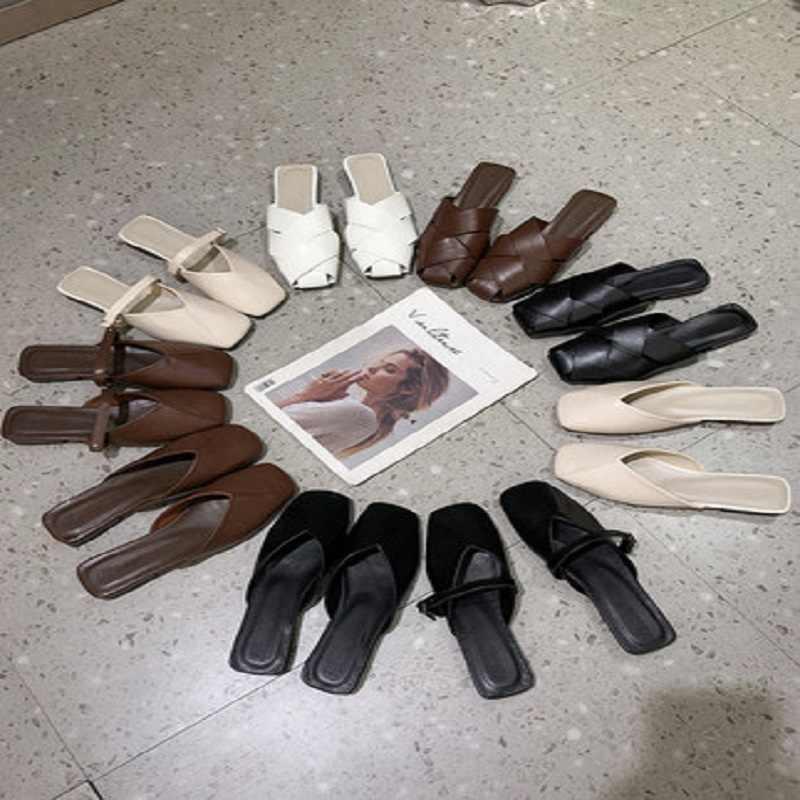 Schoenen vrouwen 2019 nieuwe zomer retro vierkante kop platte schoenen baotou half slepen Muller schoenen cool slepen vrouwen