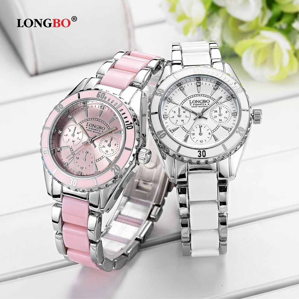 LONGBO Brand Fashion Watch Women Luxury Ceramic And Alloy Bracelet Wristwatch Women Watches Stainless Steel Bands