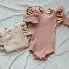 Solid Ruffled Long sleeve Baby Bodysuit For Girls