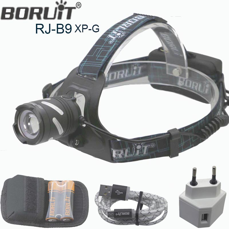 Boruit ZOOM Headlamp rechargeable zoom LED light High Brightness 3 Mode 18650 Battery OR 3pcs AAA Battery WIth usb cable charger new 003a 3 mode white zoom led headlamp black 4 x aa