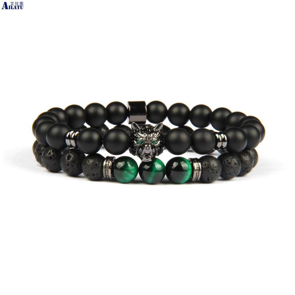 Ailatu Sets Jewelry Green Eye Wolf Beaded Energy Yoga Bracelet with 8mm Natural Matte Onyx Lava