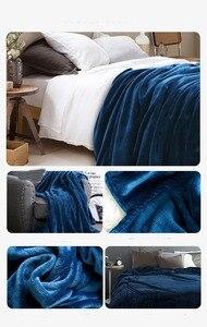 Image 2 - テキスタイルフランネル毛布スーパー暖かいソフト毛布スローに/ベッド/プレーントラベル枕インテリア · 寝具