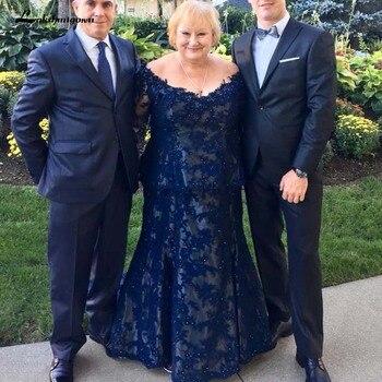 2e6b85ba4 Elegante de encaje azul marino vestidos para la madre de la novia más tamaño  piso-longitud madre vestidos de vestido Formal