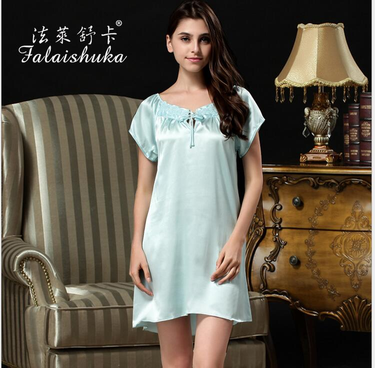 Women   nightgowns     sleepshirts   2019 Woman silk   nightgown   Homewear Pink extra large short sleeve sexy silk nightwear sleepwear