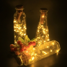 2M 20 LEDS Wine Bottle Xmas Lights With Cork Battery Powered LED Cork Shape Silver Copper Wire Colorful Fairy Mini String Light wine bottle cork shaped string light 20 led night fairy light lamp lr44 battery drop shipping 8 1