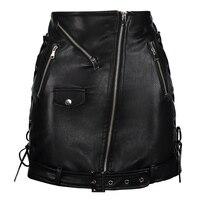 Sexy Black Skirts 2018 Streetwear Gothic PU Skirt Female Elegant Sheath Skirt Knee Mini Faux Leather Goth Girls Cool Skirts