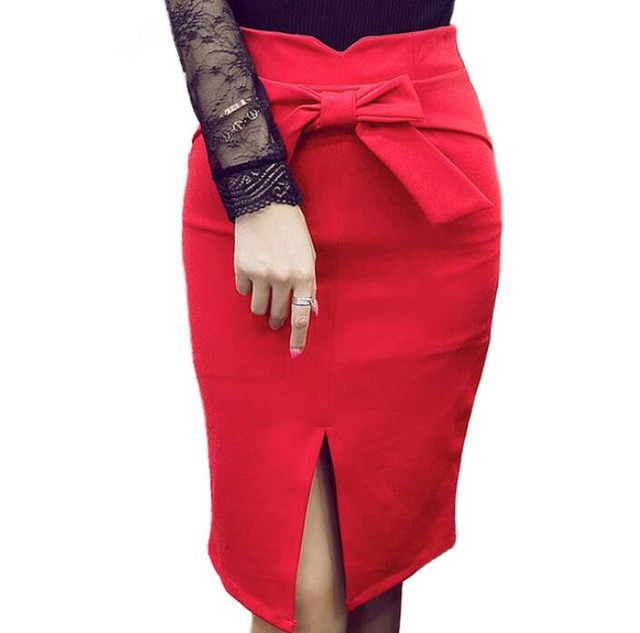 0aa3740b19 Pencil Skirt Women Plus Size S- 5XL Office Work Fashion High Waist Casual  Elegant Slit Bow Bodycon Red Black Skirt faldas mujer