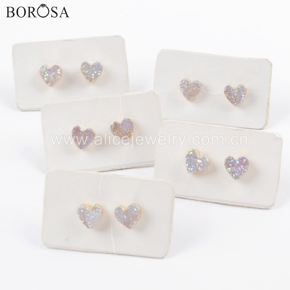 BOROSA 5 10Pairs Gold Color Heart Natural Agates Titanium AB Druzy Stud Earring Sparkling Drusy Earring Jewelry as Present G1711 in Stud Earrings from Jewelry Accessories