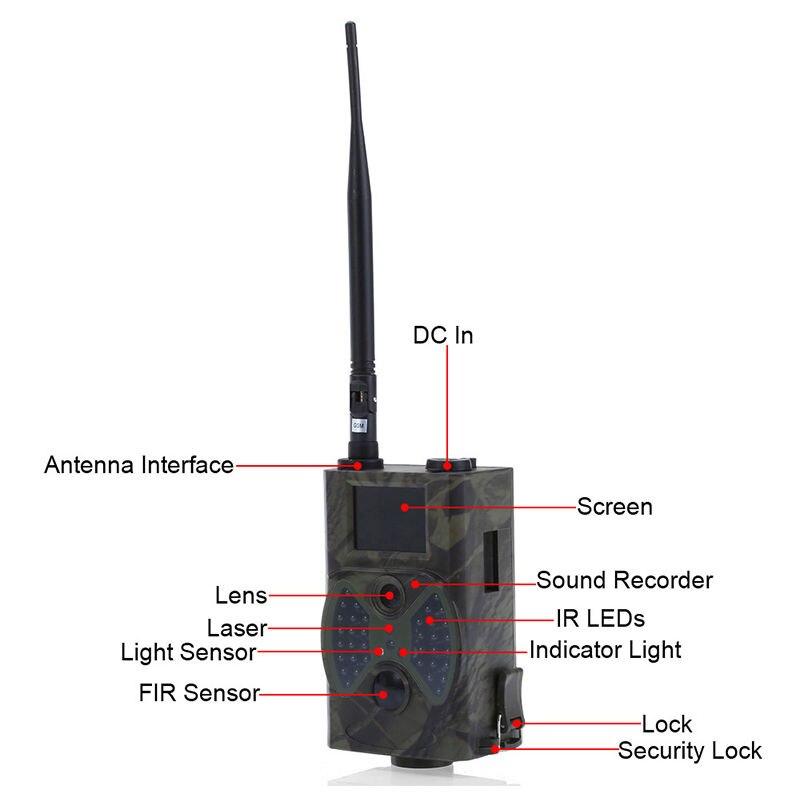 Pièges Photo 12MP Email MMS GSM 1080 P pièges de chasse à Vision nocturne HC300M caméra de chasse sauvage caméra de piste caméra de chasse de la faune - 2