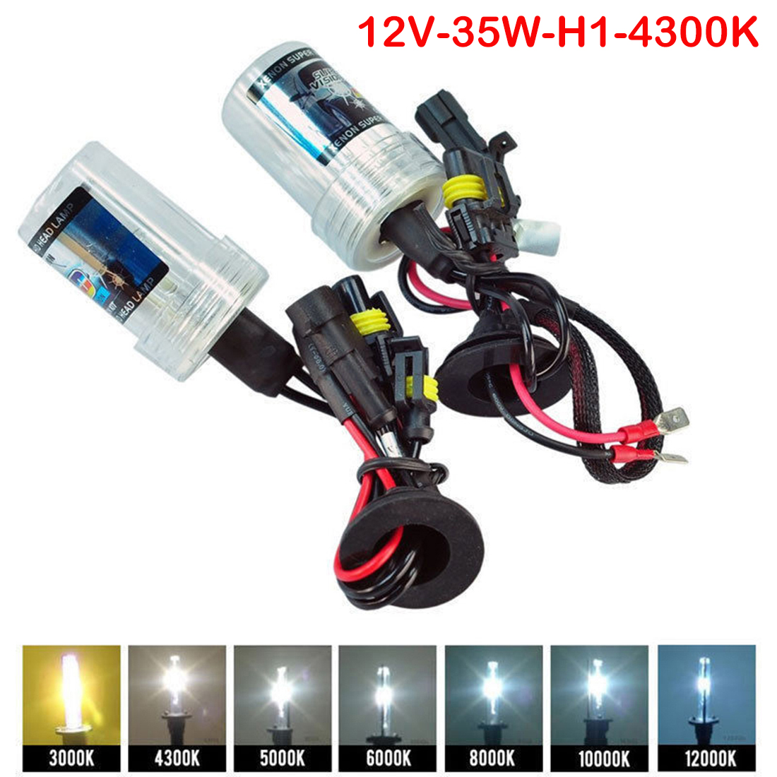 Tonewan 2pcs 35W Xenon HID Bulb Headlight Lamp Auto Car head light H1 H4 H11 4300K 5000K 6000K 8000K Car Auto Replacement pyogenesis de