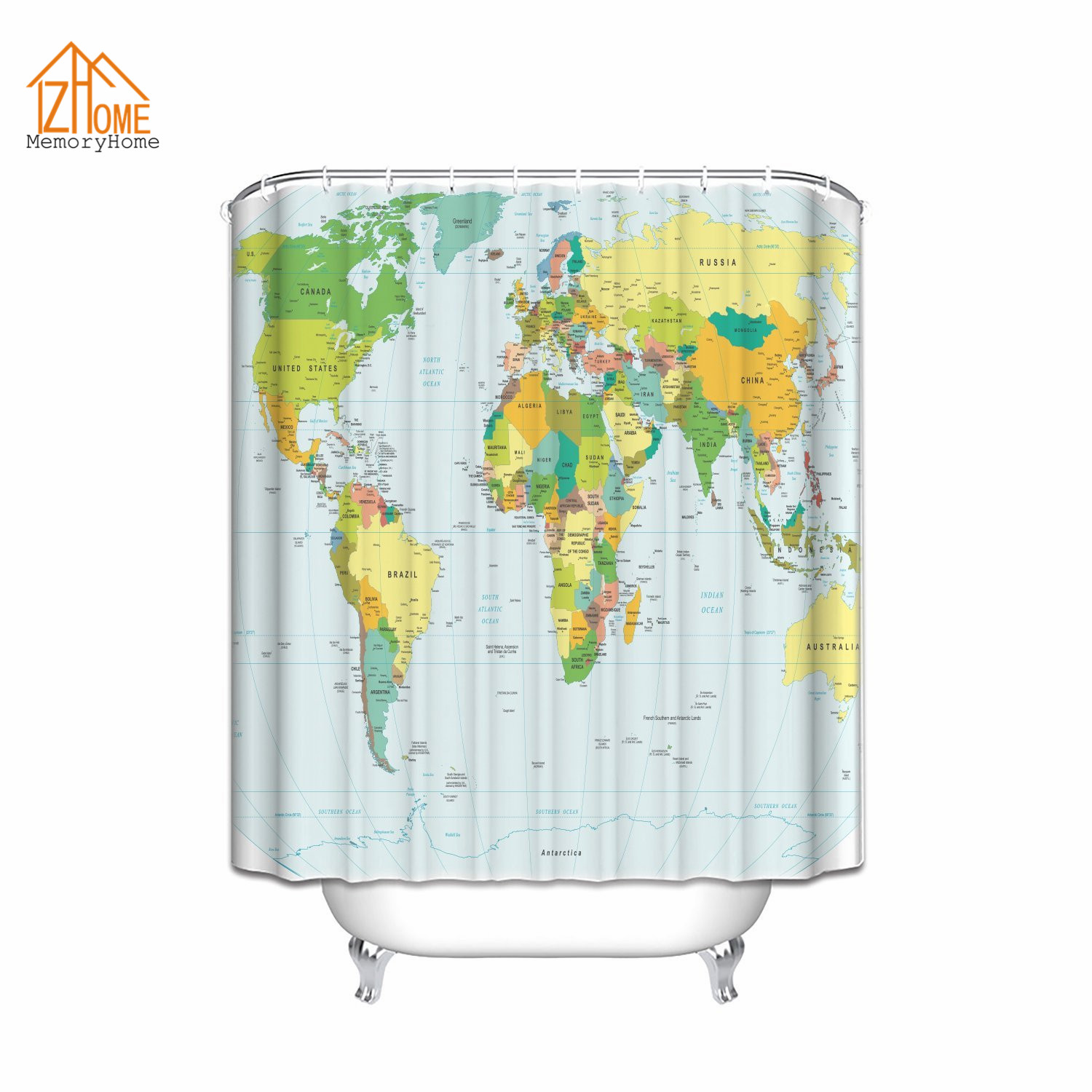 Memory home world map print educational geographical earth in my memory home world map print educational geographical earth in my bathroom ocean novelty home decor fabric shower curtain in shower curtains from home gumiabroncs Gallery