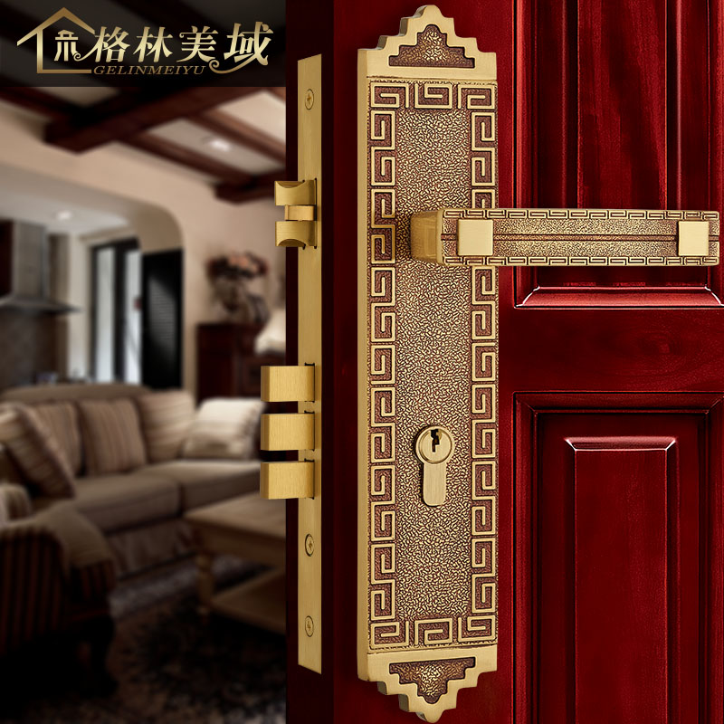 Chinese - style copper villa door lock handle lock antique lock pure copper against the home solid wood door lock pure copper handle furniture cabinet wardrobe full copper solid door handle