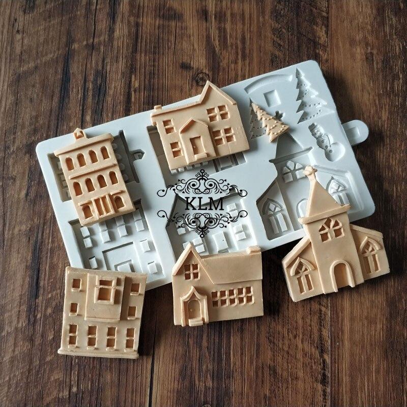 KLM-00391 New 5PCS house silicone mold Christmas cake lace decoration tools Snowman Castle Villa Shape Mold