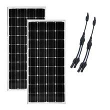 Solar Kit Panel 12v  100W 2 Pcs Pannelli Solari Fotovoltaici 200W Batterie Solaire Connector Yacht Barcos Y Yates Cavaran