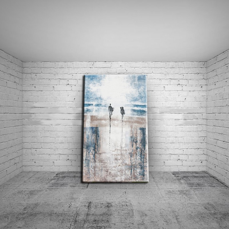 Handpainted Landscape Oil Painting On Canvas Palette Wall Pictures Lover in the sea beach pictures Home Decoration Wall Decor in Painting Calligraphy from Home Garden