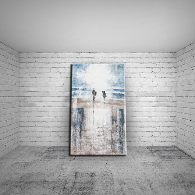 Handpainted Landscape Oil Painting On Canvas Palette Wall Pictures Lover In The Sea Beach Home