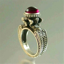 цена Vintage Red Stone Mermaid ring European and American creative women's Fashion 925 Thai silver ring Party Jewelry Accessories онлайн в 2017 году