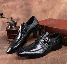 ea3f68bcde221 Slip on dress buty mężczyźni prawdziwej skóry med heel smart casual wysokość  inceasing buty wzór kamień klamra wskazał palce oks.