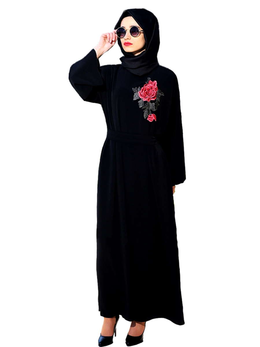 Muslim Women Elegant Black Hooded Abaya Dress Embroidery
