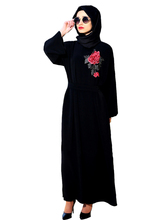 Muslim Women Elegant black hooded Abaya Dress Embroidery Flower Maxi Burka Islamic Robe Turkey Hijab Arab Turkish Worship Prayer
