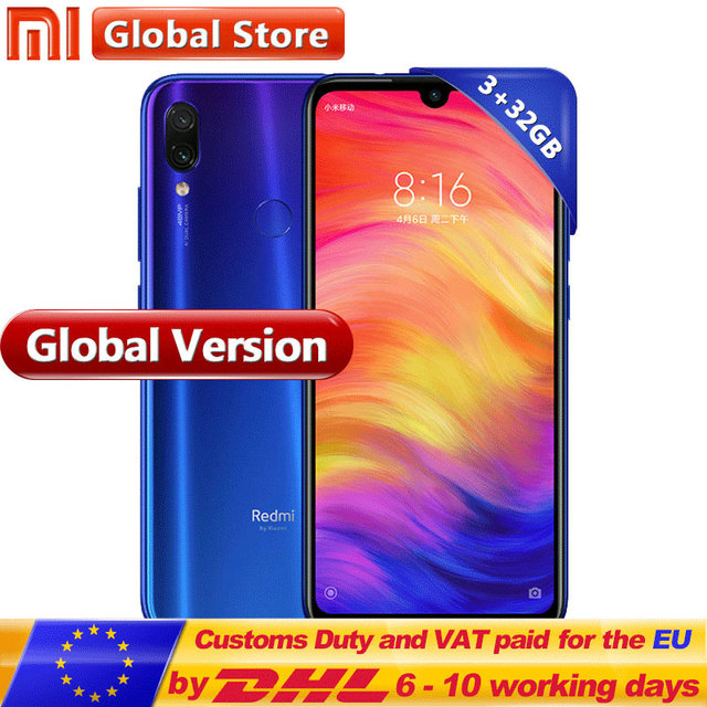 "Global Version Xiaomi Redmi Note 7 32GB 3GB Mobilephone Snapdragon 660 Octa Core 4000mAh 6.3"" FullScreen13MP+ 48MP Dual Camera"