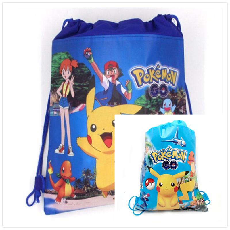 Pokemon Go Theme 1pcs Portable Drawstring Bag Kid Cotton Travel Pouch Storage Clothes Shoes Bag Pikachu Handbag Kid School Bag