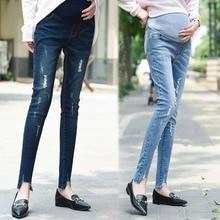 Высокая растягивающаяся джинсовая одежда для беременных, брюки для беременных, тонкие модные брюки с дырками, обтягивающие джинсы для беременных