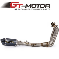 GT Motor MT 09 Full Exhaust System Motorcycle Muffler Front Link Pipe Slip On For YAMAHA MT09 FZ 09 not tracer 2014 2017
