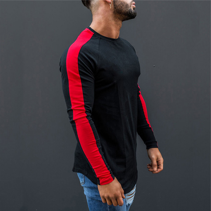 Muscleguys   T  -  Shirt   Men 2018 Spring Autumn New Long Sleeve O-Neck   T     Shirt   Men Brand Clothing Fashion Patchwork Cotton Tee Tops