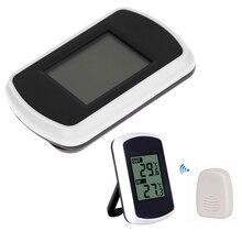 LCD דיגיטלי אלחוטי מדחום עם מקורה וחיצוני אלקטרוני טמפרטורת חיישן אמביינט מזג ביתי מדחום