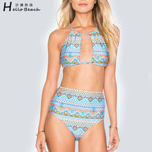 Bonjour plage 2017 Sexy maillots de bain femmes maillot de bain chaud col haut Bikini maillot de bain brésilien Bikini maillot de bain Biquini Bikini(China)